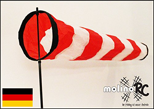 Weiß - roter Windsack | wie auf Flugfeld | leuchtenden Farben | 2018 | Durchmesser 17cm | Länge Standfuß 140cm | Länge Windsack 70cm |wetterbeständig Windsocke | Windspiel | Wetterfahne | Windturbine | inkl. stabilem Fiberglasstab | Expressversand | molinoRC BRD