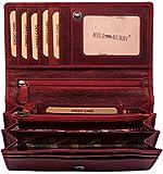 Hill Burry hochwertige Geldbörse | aus weichem Vintage Leder - Langes Portemonnaie - Kreditkartenetui (Rot)
