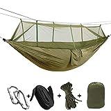 KEPEAK 1-2 Personen Camping Hängematte mit Moskitonetz, Outdoor Nylon-Hängematte Tragfähigkeit 300kg, (260 x 140 cm), Beste Fallschirm-Hängematte Fürs Freie oder einen Innengarten-Arm Grün