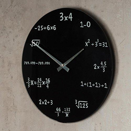 Designer Wanduhr aus Glas INKLUSIV Batterie - 35cm schwarz - Mathe Mathematik mathematic Zahlen Formeln - Design Uhr Glasuhr 35 cm rund