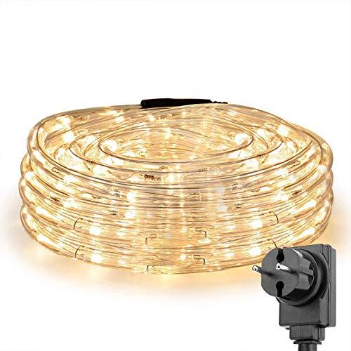 LE 10m LED Lichterschlauch 240 LEDs, IP65 wasserfest, Strombetrieben mit Stecker, Ideale Weihnachtsbeleuchtung für Außen, Innen, Zimmer, Party, Deko usw. Warmweiß