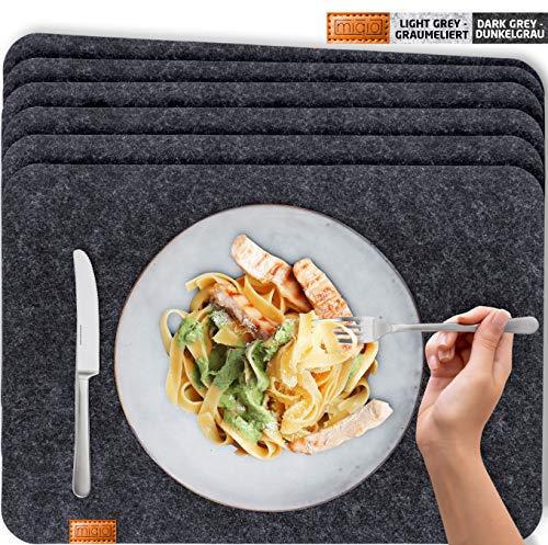 Miqio - Design Platzset - Filz und Leder - 6 waschbare Premium Tischsets/Untersetzer (dunkelgrau anthrazit)