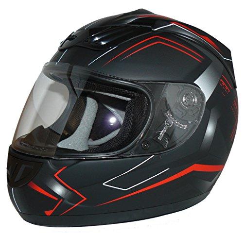 protectWEAR Motorradhelm H510 Arrow Schwarz Matt/Rot, Größe L