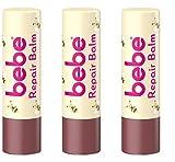 bebe Lippenpflegestift 3in1 Repair Balm - Pflegender Lippenbalsam schützt und repariert trockene Lippen - 3 x 4,9g