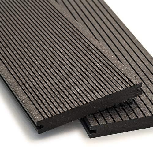 WPC Terrassendielen Massiv Dielen - Komplett-Set Dunkelgrau | Qualitäts-Muster Holzbrett Dielen | Boden-Fliesen + Unterkonstruktion & Clips | Balkon Bodenbelag + rutschfest + witterungsbeständig