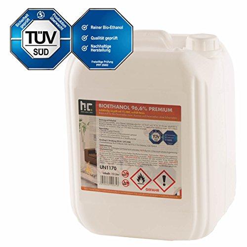 10 L Bio Ethanol Premium 96,6% (1 x 10 L) für Kamin - VERSANDKOSTENFREI - im handlichen 10 L Kanister - TÜV SÜD zertifiziert