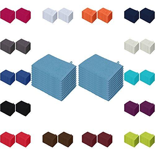 Waschlappen 20er Pack Sparpreis in vielen Farben 15x21 cm 100% Baumwolle Hellblau