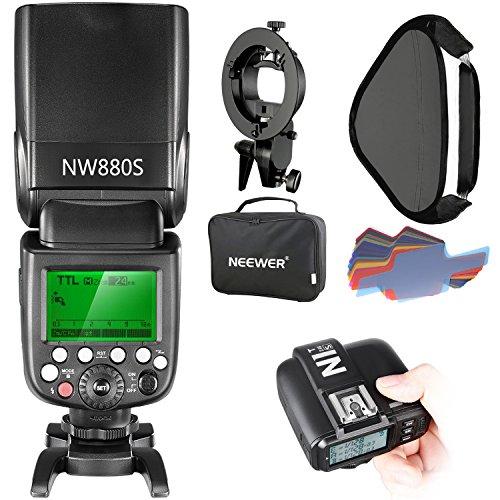 Neewer 2.4G Wireless 1/8000 HSS TTL Master/Slave Blitz Speedlite Set für Sony Kamera mit neuem Mi Schuh, Enthält: NW880S Blitz, N1T-S Auslöser, S-Typ Halterung, 16x16 Zoll Softbox, 20 Stück Farbfilter
