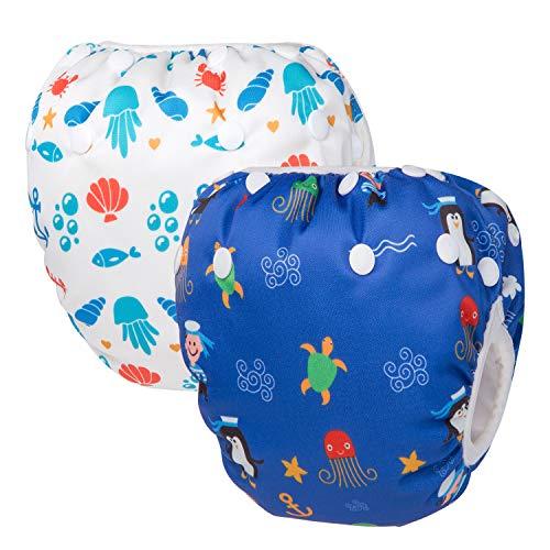 HBselect Baby Schwimmwindeln Kinder Schwimmhose wiederverwendbare wasserdichte Windeln Badewindelhose Badehose verstellbare Größe für 0-36 Monate (Penguin & Coral)