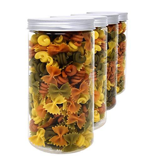 D' Luxy Set 4 Vorratsdosen aus Lebensmittelqualität Polyäthylen, 1,5 L (20x10 cm), mit Schraubverschluss. Recycelbar. 100% Ohne BPA.