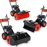 BRAST Benzin Kehrmaschine Laubsammler Schneeschieber 4,8kW(6,5PS) 80cm Breite Elektrostart Schnellwechsel-System 3 in 1 Gerät