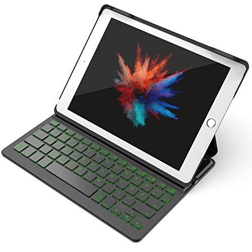 "Inateck Backlight Tastatur Keyboard Case Hülle mit Hintergrundbeleuchtung kampatibel 9,7"" iPad 2018 (6. Generation), iPad 2017 (5. Generation) und iPad Air 1, Drahtlos Bluetooth Tastatur in QWERTZ Layout"