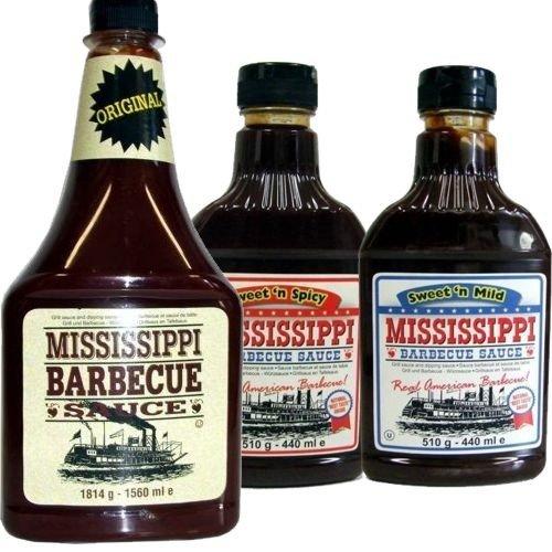 Mississippi Barbecue Grill Sauce 'Original, Sweet'n Mild & Sweet'n Spicy', 1560ml + 2x440ml (Dreierpack)