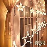 Avoalre Lichtervorhang 12 Sterne 2M Lichterkette 138LEDs Lichter Ketten mit 8 Modi Weihnachtsbeleuchtung im Innen/Außen