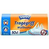 Swirl Tragegriff-Müllbeutel, 10 Liter, Antibakteriell, 4 Rollen mit je 37 Beuteln, Weiß