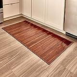 iDesign rutschfeste Fußmatte, wasserabweisende Bambusmatte, großer Läufer aus Bambus für Bad, Küche und Flur, mokkabraun