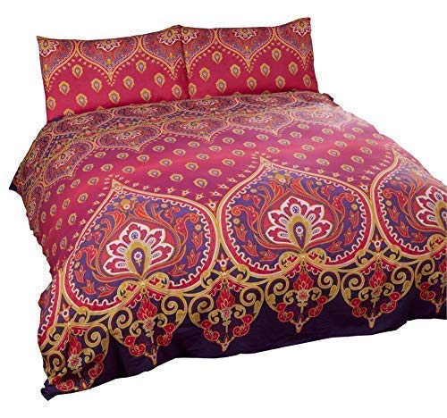 indischen henna-style rot lila Baumwolle-Mischgewebe Single Bettbezug