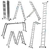 MCTECH 6 in 1 Anlegeleiter 340/ 470cm Mehrzweckleiter Aluminium Verstellbar Klappleiter Gelenkleiter Leiter Stehleiter Leitergerüst Arbeitsbühne (4X4 Stufen mit plattform)