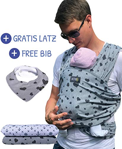 HECKBO Babytragetuch grau mit schwarzen Herzen - inkl. GRATIS Baby-Lätzchen & Tasche - extra groß: 520 x 60 cm - hochwertiges & elastisches Baby Tragetuch Wickeltuch für Neugeborene & Babys bis 15 kg