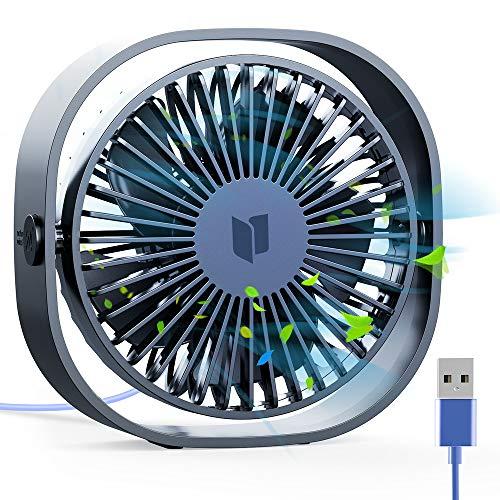 RATEL Mini USB Tischventilator, 12,5 cm Mini-Schreibtisch Ventilator mit 1,2 Meter langem Kabel, tragbar und persönlich für Zuhause und Büro - Ruhig und kraftvoll