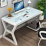YQ WHJB Glas Klar Computertisch,große Einfache Computer Schreibtisch,100% Metal Frame Büro Schreibtisch Studie Schreiben Laptop Workstation Baugruppe-a 80x60x75cm(31x24x30)