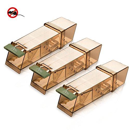 Gardigo Maus Lebendfalle 3er Set | Mausefalle | Kastenfalle | Wiederverwendbar | Umweltfreundlich | aus Kunststoff | Deutscher Hersteller