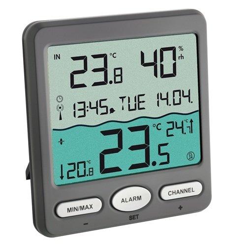 TFA Dostmann Poolthermometer VENICE 30.3056.10, zur Überwachung der Wassertemperatur in Pool, Teich oder Whirlpool, grau