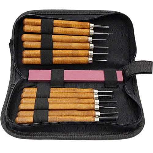 Holzschnitzwerkzeug Set 12-tlg Holz-Schnitzmesser, Profis Schnitzwerkzeug für Anfänger und Profis