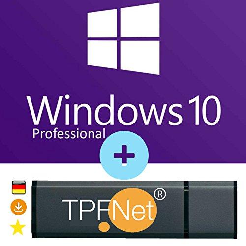 Microsoft Windows 10 Pro 32 bit & 64 bit - Original Lizenzschlüssel mit bootfähigen USB Stick von - TPFNet