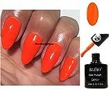 BLUESKY Neon 30Bright Orange Sunset Boulevard Nagellack-Gel UV LED Soak Off 10ml plus 2LuvliNail Shine Tücher