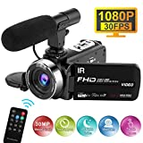 Videokamera HD mit Mikrofon 1080P 30FPS 30MP Camcorder Full HD Zeitraffer Nachtsicht Videokamera 16X Digitalzoom Digitalkamera für Live Streaming