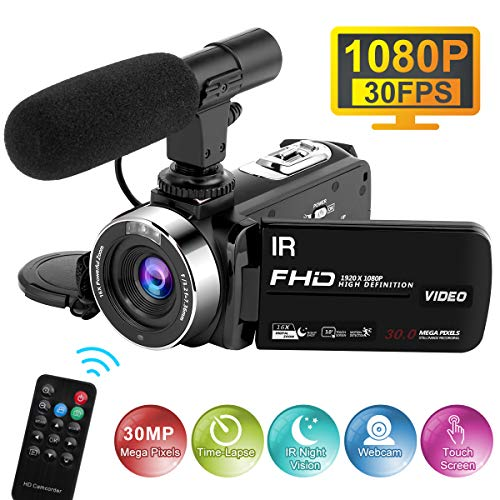 Videokamera HD mit Mikrofon 1080P 30FPS 30MP Camcorder Full HD Zeitraffer Nachtsicht Videokamera 16X Digitalzoom Digitalkamera für Live Streaming
