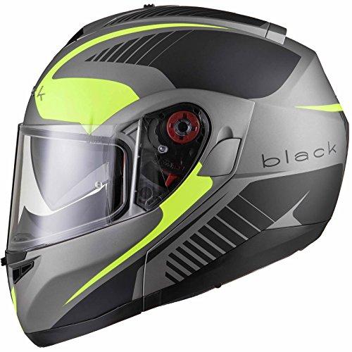 Black Optimus SV Tour Max Vision Motorradhelm mit Klappvisier, XL, Matt Schwarz/Gelb