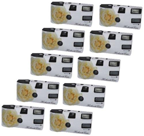 Hochzeitskamera 'Weiße Rose' - 10er Pack Einwegkamera mit Blitz (27 Aufn. 400 ASA)