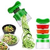 ELIRIVAWET Spiralschneider Hand für Gemüsespaghetti, Gemüse Spiralschneider, Gemüsehobel für Karotte, Gurke, Kartoffel,Kürbis, Zucchini, Zwiebel