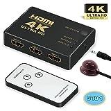 HDMI Switcher 4k,GANA 3 Port HDMI Switch | HDMI Splitter Box | HDMI Verteiler 3D HD 4K/1080p Adapter für Laptops, DVD, HDTV, inkl Fernbedienung (3 x IN / 1 x OUT)