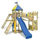 WICKEY Spielturm Smart Legend 150 - Klettergerüst mit Schaukel, Sandkasten, Kletterwänden und -leiter, großem Kletteranbau, Wackelbrücke und blauer Wellenrutsche
