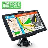 Jimwey GPS Navi Navigation für Auto LKW PKW Navigationsgerät 7 Zoll 8GB 256MB Lebenslang Kostenloses Kartenupdate mit POI Blitzerwarnung Sprachführung Fahrspurassistent Europa UK 50 Karten