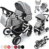 3 in1 Kinderwagen Kombikinderwagen Bambimo - Buggy & Babyschale Farben Grau incl. Wickeltasche - Regenschutz - Ablage Tisch.