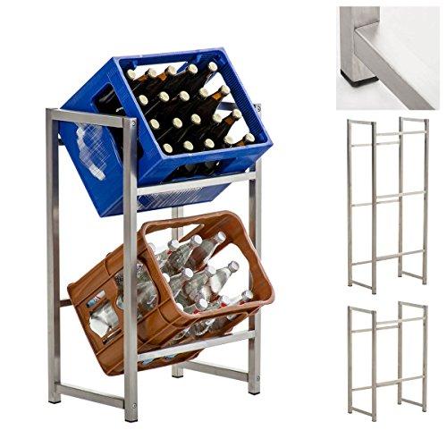 CLP Edelstahl Getränkekistenständer LENNERT | Platzsparender robuster Kistenständer für 3 Getränkekisten 75 x 47 x 31 cm