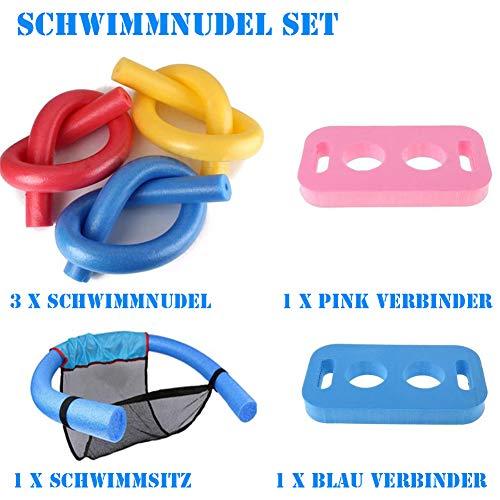 Towinle Schwimmnudel Set Poolnudel Schwimmnudelsitz Schwimmnudel Verbinder Set PE-Schaum Schwimmhilfe Kinder Erwachsene Cool Badespielzeuge