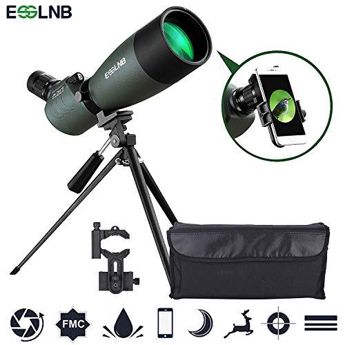 ESSLNB 25-75X70 Spektiv mit Handy Adapter Stativ und Tasche für Sportschützen Jagd und Vogelbeobachtung Wasserdicht BAK4 45 Grad abgewinkelt Okular
