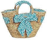 Korbtasche mit Schleife Shopper Einkaufskorb Henkelkorb verschließbar Maisstroh gefüttert natur / blau