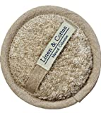 Linen & Cotton Luxus Exfoliating Pad Scrubber Bath Body Massage Sponge Badeschwamm Duschschwamm Peeling-Schwamm AIRA, 60% Leinen 40% Baumwolle - 12cm (Natur/ Beige)