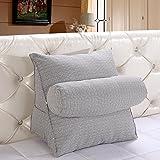 Kenmont Bücherkissen-Rückenkissen-Lendenkissen-Fernsehkissen Plüsch Kissen für Auto, Bett, Lesen, Büro-Stuhl und Sofa (Large, Licht Grau)