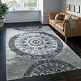 Paco Home Teppich Klassisch Gemustert Kreis Ornamente in Grau Schwarz Meliert, Grösse:200x290 cm