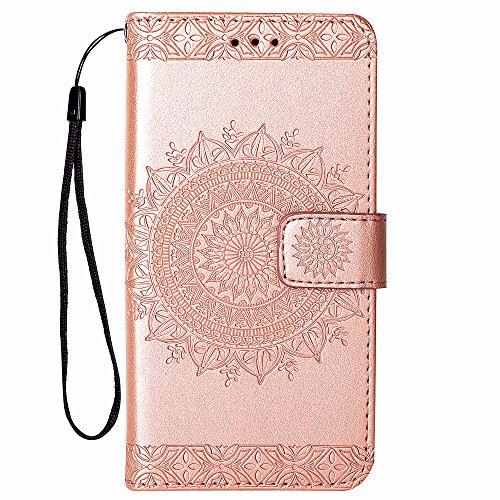 Hancda Hülle für iPhone SE/iPhone 5S /iPhone 5 Handyhülle Tasche Hülle Flip Case Leder Schutzhülle Cover Handytasche Hüllen Lederhülle Brieftasche Geldbörse Magnet Case für iPhone SE/5S/5-Rose Gold