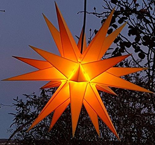 Mit LED Melchior outdoor II gelb, Außenstern inkl. Außenkabel / Außensterne, Leuchtmittel StaRt-NDL-DUH-E14-C3,5W 104 SMD Dioden