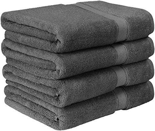 Premium Badetuch Set - 600 g/m²  - 100% Ringgesponnene Baumwolle Handtücher - Maschinenwaschbar (4er-Pack, Grau, 69 x 137 cm) - von Utopia Towels