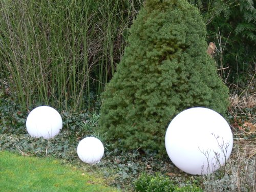 Kugelleuchte Gartenlampe 'Sonderangebot' Hochwertige Außenleuchte Marlon 3er Set (20+30+40cm) Gartenleuchte Kugellampe mit Erdspieß, E27, Kugellampe